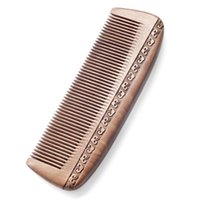Natural Peach Solid Wood Comb Engraved Healthy Massage Anti-Static Hair Care Tool Beauty Accessories Brushes