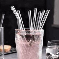 Cannucce in vetro trasparente riutilizzabili bere paglia eco-friendly alto borosilicato di vetro di vetro di vetro tubo per feste per feste per la barra dei drinkware 200 * 8mm