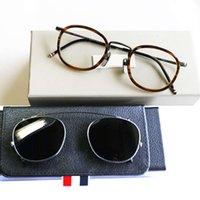 New York Brand Thom Eyeglass Fram eller solglasögon Män Kvinnor Optiacl Eye Glass Browne TB710 Clip Solglasögon med Original Box