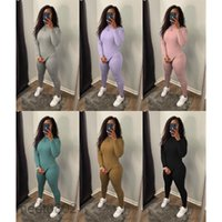 2021 New Autumn And Winter women's fashion casual round neck rib pit stripe two piece set Designer Solid color Slim Long Sleeve trousers Suit