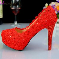 Dress Shoes Elegant Lace Flowers High Heeled Wedding Bridal Red Suede Leather Lady Prom
