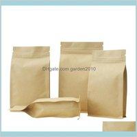Sacs d'emballage Sacs de bureau École de bureau Industrial Kraft Papier Huit Sacs d'étanchéité de bord, serrure zippée Feuille d'aluminium brun épaissir Emballage C