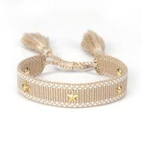 Frauen einstellbar geflochtene Quaste Armband handgefertigte goldene Pentagramm-Polyester-Armbänder für Mädchen Vintage Modeschmuck Geschenke
