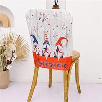 Гномы кресло задняя крышка США 4 июля патриотический безликий безликий карликовый узор столовая кухня ресторан стулья декор HWE5682