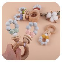 Pacifier Holders Baby Pacifiers Weaning Teething Natural Wooden Infant Feeding Accessories Silicone Beads Newborn Teeth Practice Toys Teether