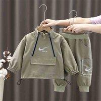 Designer Fashion children's clothing designer kids children's two piece set half zipper pullover hoodie zip jacket acoat and side pocket pan