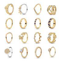 Uthentische legering ringen met side stones prinses tiara kroon sprankelend liefde hart CZ voor vrouwen engagement sieraden jubileum