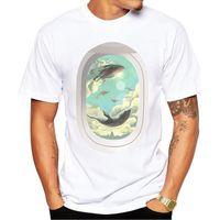 Mais novo hipster voando homens t-shirt moda baleias impressas camisetas manga curta casual tshirts engraçado tee