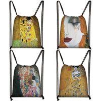 Backpack Oil Painting Tear   Kiss By Gustav Klimt Women Men Travel Bags Canvas Storage Bag Mini Teenager Bookbag