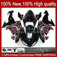 Carrosserie pour Kawasaki Ninja ZX1000CC ZX 10R 10 R 1000 cc 2006 2007 Body 14NO.109 1000CC ZX1000C 2006-2007 ZX-10R ZX1000 ZX10R 06 07 Kit de carénage de la moto Rouge Flammes