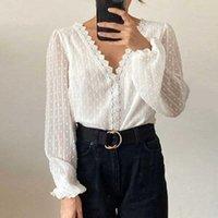 Frauen Blusen Hemden Weiß Inspirierte Spitze mit V-Hemd Ausschnitt Gestickte DOT Tunika Langarm Bluse Elegante Damen 2021 Tops