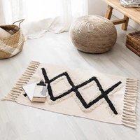 Retro Böhmische Hand gewebt Baumwolle Leinen Teppich Quaste Teppich Geometrische Bodenmatte Schlafzimmer Tapisserie Dekorative Decke Area Teppiche