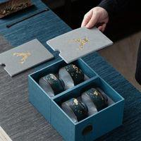Cups & Saucers 4pcs Japanese Ceramic Tea Cup Set Fragrance-Smelling Gift Box Ceremonial Porcelain Teacups