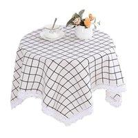 Tela de tabla 80x80cm / 130x130cm Tela de lino de algodón Cubierta de patrón de cuadrícula de mantel para decoración del hogar Accesorios