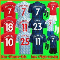 21 22 ronaldo b. فرنانديس كرة القدم الفانيلة سانشو غرينوود مروحة لاعب Verison United Cavani Manchester Camiseta Futbol Utd Rashford Kids Kit 2021-22 كرة القدم قميص