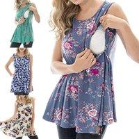 Ptint Maternity Nursing T Shirt Tanques de lactancia materna azul de verano para las mujeres embarazadas Embarazo Enfermera desgaste Tops Tee Ropa