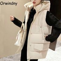 Orwindny Winter Warm Vest Women Fashion Loose Hooded Waistcoat Snow Wear Thicken Cotton Padded Jacket Coat Sleeveless Solid Tops Women's Ves