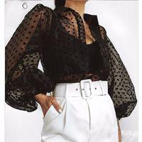 Women Blouses Women Polka Dot Retro Blouse Lady Early Autumn Modern Mesh Shirt Vogue See-through Loose Button Puff Sleeve Blouse High Street