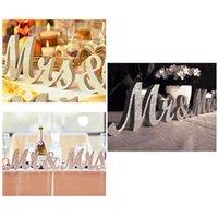 DHL бесплатный старинный дизайн английские буквы MRMRS деревянные свадебные фона украшения блестящие золотые серебряные присутствующие таблицы центральный декор 1 набор