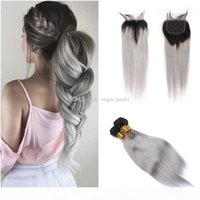 Deux tons Human Cheveux Tissu Ombre Cheveux gris Tisseux avec fermeture en dentelle Extension de cheveux droite grise avec fermeture en dentelle 4pcs lot