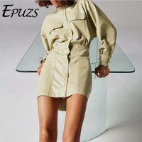 Повседневные платья 2021 весенние женщины мода тонкий с длинным рукавом бежевый мини-платье Elegan Pocket Pocket Button Lady свободно PU EPUZS