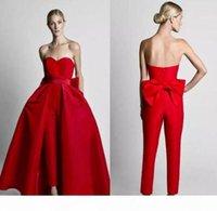 2020 Новые скромные красные комбинезоны платья WD андиги с съемной юбкой без бретелек невесты свадебные партии для женщин на заказ 72