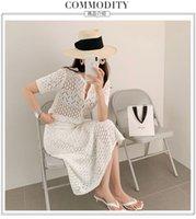 2021 Новый дизайн женские трикотажные пустоты лето с коротким рукавом тройник и русалка MIDI длинная юбка 2 шт платья