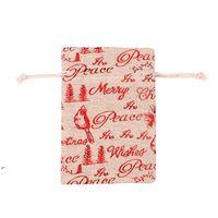Bolsas de algodón de la Navidad de lino de colores 10x14 13x18cm Party Muslin Muslin Dulces Regalos Joyas de embalaje Bolsas con cordón Bolsas de regalo Bolsas DWF8565