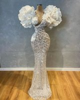 Luxury 2021 Mermaid Wedding Dress V Neck Crystal Long Sequined Beaded Bridal Gowns Flower Appliqued Robe de mariée