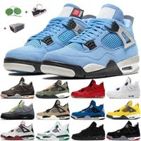 With Box Jumpman womens mens 4 4s Basketball Shoes University Blue Royal Black White Classic retro Cement Union Sail Fire Red Guava Ice