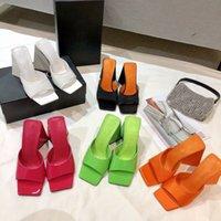 الأبيض الحرير مربع أصابع النعال الكعوب مكتنزة الكعوب مصغرة مصممين الفاخرة الشرائح الأحذية الصيفية 10 سنتيمتر عالية الكعب النساء الصنادل السيدات صندل الكعب الشريحة مصنع الأحذية الأحذية