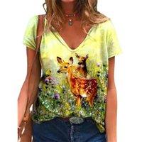 Kadın T-shirt Vicabo Kadınlar Yaz Kısa Kollu V Yaka Kadın Giyim Tops Tunik Gevşek 3D Hayvan Baskı Blusas Vintage Streetwear