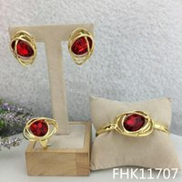 Earrings & Necklace Mejewelry Nigerian Wedding African Accessories Party Gold Plated Jewelry Sets Red Crystal Bangles Ring