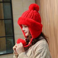 Berets women's winter wild Mongolian plush plus velvet thick warm knitted cute hat