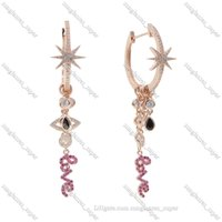 Rose Gold Silver Color Multi Charm Hoop Dangle & Chandelier Women Earring 5A CZ Love Eye Star Starburst Charms Fashion Sweet Jewelry