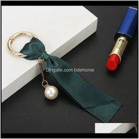 Keychains Drop Livraison 2021 Mode à la main Mode Femme Sac Bijoux Pendentif Voiture Voiture Porte-clés Perles Perles Détachables Coréen Ruban Coréen DIY AESSOIRES SOIK