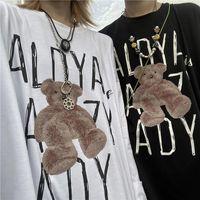 Latimeelon Summer Couple Bear T-Shirt Male Black Funny Harajuku Tshirt Streetwear Men Fashion Japan Hip Hop T Shirts Males Women's