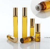 المحمولة 10 ملليلتر مصغرة لفة على نظارات زجاجات العطر العنبر براون سميكة الزجاج الضروري زجاجة زجاجة الصلب الأسطوانة الكرة fwa8865