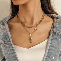 قلادة القلائد الأوروبية usa الأزياء الفولاذ المقاوم للصدأ الذهب طبقة مزدوجة موجة المياه سلسلة قلادة التيتانيوم كلمة بار النساء