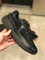 Mens Americas Cup Prax 01 Sneaker Match Race Re-Nylon Tecido De Couro Preto Treinadores Sapatos Designer Sneakers Tela Impresso Painel Runner Malha Casual Sapato