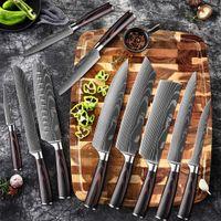 Coltello da cucina 1-10 pezzo set, modello di damasco laser, tagliente tagliente, giapponese santoku, affettatura pratica