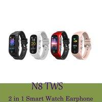 N8 TWS Bluetooth 2 In 1 Bracelets Écouteurs sans fil Écouteurs Smart Bracelets Sleep Traqueur Podomètre Sporter Sport Montres Sports Fitness Montres