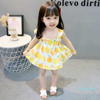 Prinzessin Kleid Zitrone Druck trägerlos Hosenträger Mädchen Sommerkleid Kinder Kleider Kinder Kleidung Kurze Kinder Rock Niedlich Mädchen G8623LZ