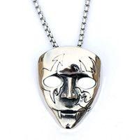 Máscara de palhaço inoxidável colar de jóias masculinas em forma de V Vendetta Team Titanium Steel Pendantf0VA