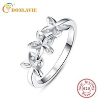 Wedding Rings BONLAVIE 925 Sterling Silver Flowers Finger Dazzling Stackable Ring Clear CZ For Women Engagement Jewelry