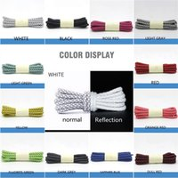 Reflective Shoelaces Weaving Round Laces 19 Red yellow green blue purple black colors Highlight at Night Unisex Leisure Sneakers White Shoe Lace 120 140 160cm A02