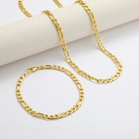 Wholesale Figaro Cuban Link Chain Necklace Bracelet Sets 14K Real Solid Gold Filled Copper Fashion Men Women's Jewelry Accessories 22 T2