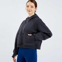 Semi Zipper Sweater Women's Hoodie Loose Fashion Leisure Coat Running Fitness Yoga Casual Thickened Gym Clothes