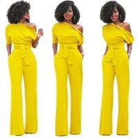الجمنازيوم ملابس كامل طول السراويل حللا العمل السيدات واحد الكتف مثير بذلة أنيقة للنساء 2021 أبيض أزرق أصفر فضفاض