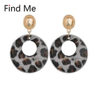 Find Me 2021 Fashion Luxury Boho Leopard Print Dangle Earrings Imitation Leather Drop For Women Jewelry Wholesale & Chandelier